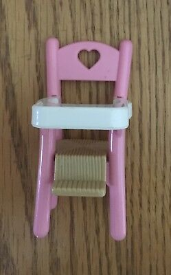 Fisher Price Loving Family Dollhouse Pink Baby Girl High Chair Feeding Nursery