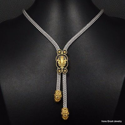 Luxury Hercules Knot Lion Heads 925 Sterling Silver & 22K Gold Plated Necklace