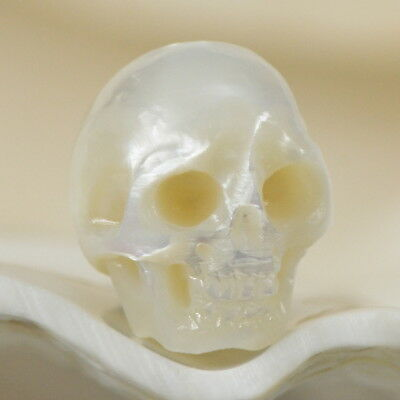 11.27 mm Human SKULL BEAD Cream Freshwater Pearl Carving 1.49 g fully drilled