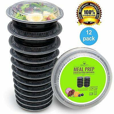Round Meal Prep Containers Set - Portion Control - Restaurant Foodsavers (12 Pk)