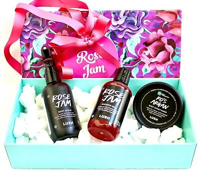 LUSH COSMETICS Rose Jam 3 PC GIFT SET Ro's Argan Shower Gel Body Spray NEW BOXED