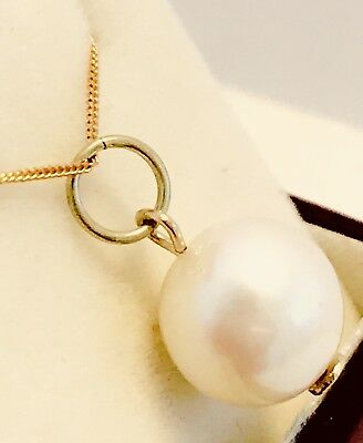 $140 Solid 9ct 9k Yellow Gold NATURAL Large AUSTRALIAN Round Cream Pearl Pendant