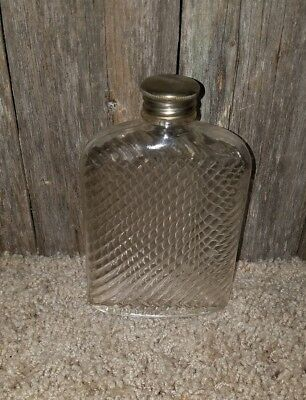 Antique Glass Flask Curved Pocket Clear Ribbed Cork Cap Universal Bottle