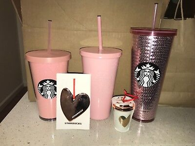 NEW Starbucks 2017 PINK Cold Cup Tumblers LOT of ALL 3 Glitter + Sequin + Solid