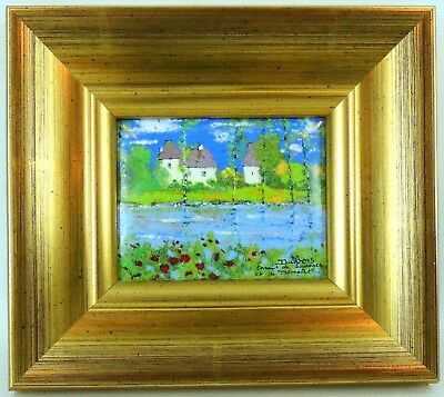 Limoges France Framed Tile Dubois Dordogne River R2H