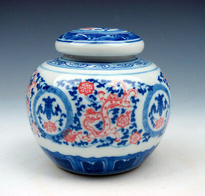 Blue&White Porcelain Flowers Red Dragons Hand Painted Tea Caddie Jar #01211604