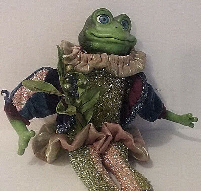 Frog Prince Doll Sparkle Fabric Whimsical Decoration Collectible Amphibian