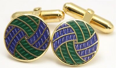 Vintage CHRISTIAN DIOR Ornate Gold Tone Blue Green Enamel Spiral Cufflinks