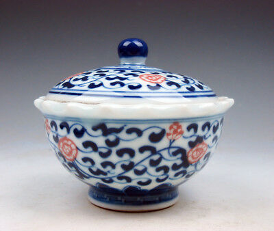 Blue&White Glazed Porcelain Ox-Blood Red Floral Painted Lidded Tea Cup #09041701