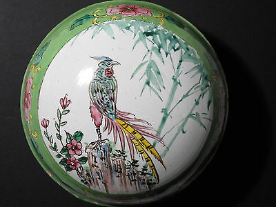 "Antique Vintage Chinese Canton Enamel on Copper Lidded Box Bird - 4"" Diameter"
