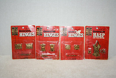 NOS 3 Sets Of Little Hinges & Turn Button Hasp Jewelry Box Hardware