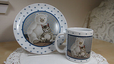 Vintage 1989 Lowell Herrero Paw Plate & Cup Kitten Cat & Teddy Bear – Cute!