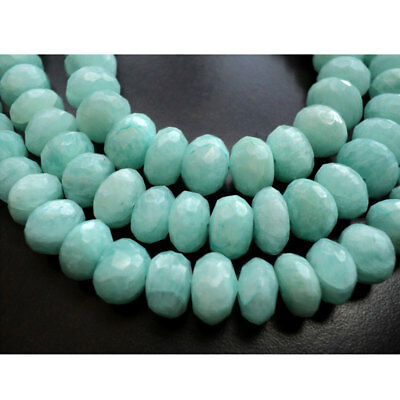 Amazonite Gemstone Faceted Rondelle 9mm Beads 4 Inch Half Strand 15 Piece Approx