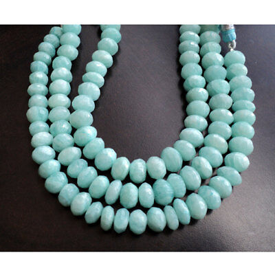 Amazonite Gemstone Faceted Rondelle 9mm Beads 8 Inch Full Strand 32 Piece Approx