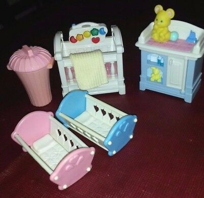 Fisher Price Loving Family Dollhouse Baby Nursery Crib Cradles Furniture Musical