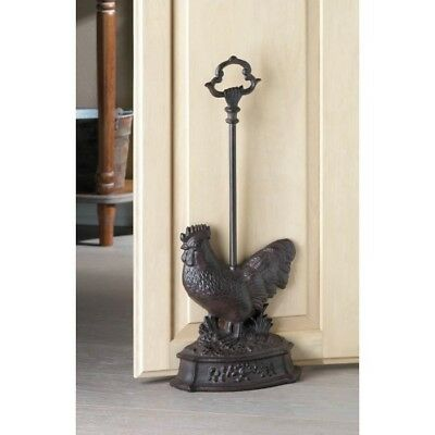 Cast Iron Rooster Door Stopper With Handle New!