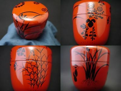 Japanese Traditional Lacquer Wooden Tea Caddy AUTUMN FLOWERS design Natsume 1114