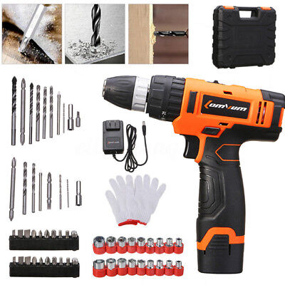 0-1350/MIN Cordless Rechargeable Battery Electric Drill Speed Driver w/ Bits Set