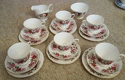 English bone china tea cup set of 6 with saucer plates sugar bowl 19 pce