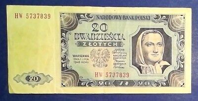 POLAND: 1 x 20 Zloty Banknotes (1948) - Very Fine Condition