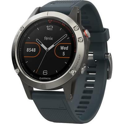 GARMIN Fenix 5 Silver Blue Band Watch 010-01688-01 GPS HRM Multi Sport Triathlon