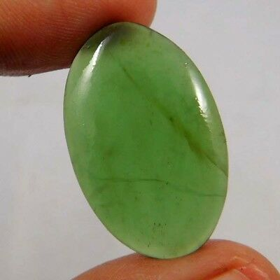 16.6 Cts. Fabulous Power?Wonderful Designer Green Jade?Oval 29X18 Cab Gemstone