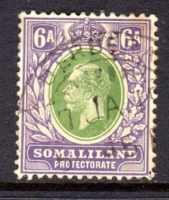 Somaliland KGV 1912-19 (Wmk Multi CA) 6a Green & Violet SG66 Used