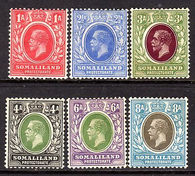Somaliland KGV 1921 (Wmk Script) Selection to 8a M/Mint