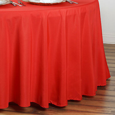 """6 pcs Red 90"""" ROUND POLYESTER TABLECLOTHS Trade Show Booth Decorations SALE"""