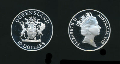 Australia: 1989 $10 Queensland. State Series Silver Proof Coin in capsule only.