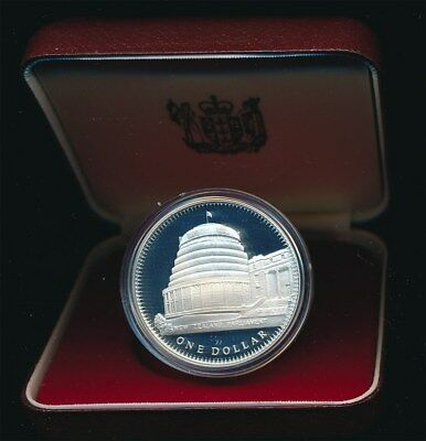 New Zealand: 1978 $1 Coronation 0.84oz Silver  Proof Crown sized coin cased.