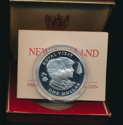 New Zealand: 1983 $1 Charles & Diana 0.84oz Silver Proof  coin cased,