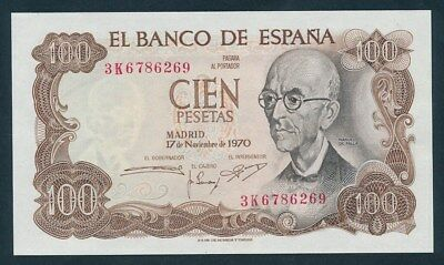 Spain: 17-11-1970 (1974) 100 Pesetas. Pick 152a, UNC Cat $20