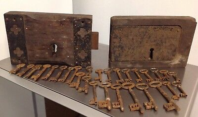 2 Old Jail Door Lock Very Heavy Brass Metal Wood Old Door Locks Vintage +28 keys