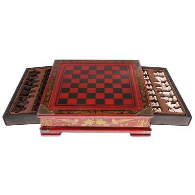 Retro Wooden Chess Set Antique Chinese Soldiers Chessman Family Game Gift