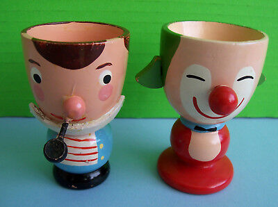 Pair OF Vintage Wooden Egg Cups 1 Sailor, 1 CLOWN  TURNED WOOD HAND PAINTED