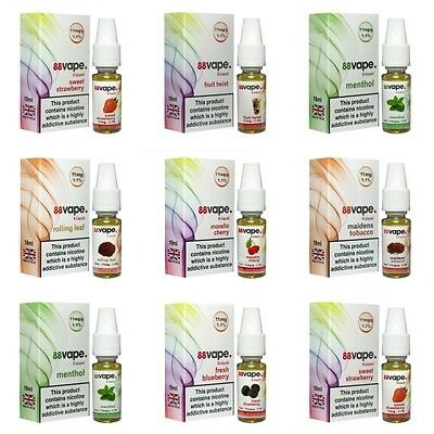 100ml (10x 10ml) E Liquid 88 Vape Juice 6mg | 11mg | 16mg | 0mg 20 Flavours