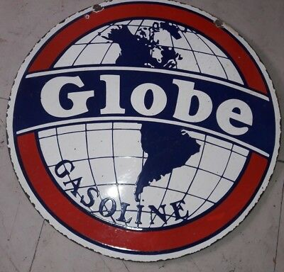 Globe Gasoline Gas Pump Porcelain Sign 30 Inches Round double sided