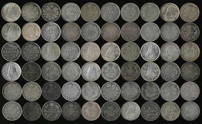 60 OLD CANADA & NEWFOUNDLAND SILVER DIMES LATE 1800's to MID 1900's > NO RESERVE
