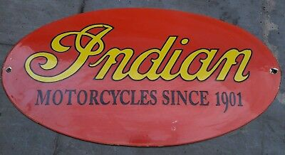 Porcelain  India Motor Cycles Sign 13 X 25 Inch