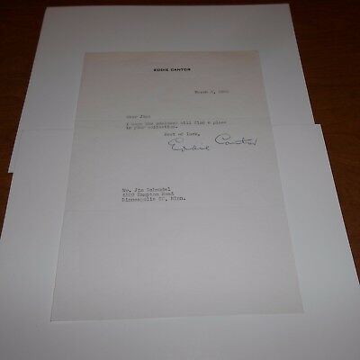 """Eddie Cantor was an American """"illustrated song"""" perfor Hand Signed 56 Letterhead"""