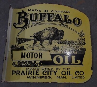 """Porcelain BUFFALO MOTOR OIL  SIZE 24"""" X 24"""" INCHES 2 SIDED FLANGE"""