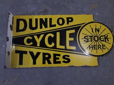 """Porcelain DUNLOP TYRES Sign SIZE 14"""" X 27"""" INCHES Double Sided FLANGE"""