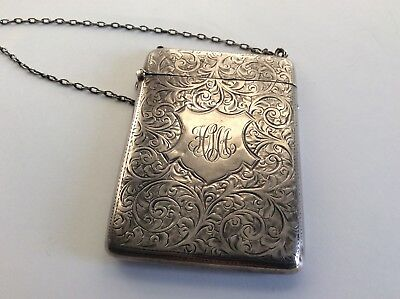 Antique Birks solid silver card case