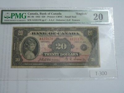 Rare Canada Banknote 1935 20 Dollars  English Issue Cat Est 2000.00 Coa Pmgt300