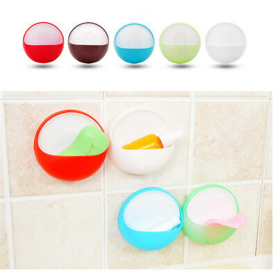 plastic suction cup soap toothbrush box dish holder bathroom shower accessory MW