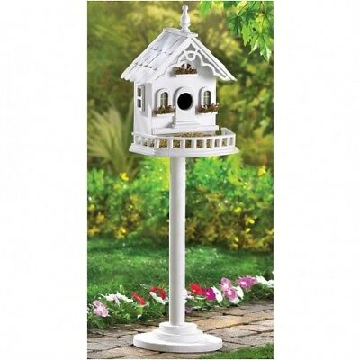 Large Freestanding White Wood French Country Style Birdhouse With A Pole And Bas