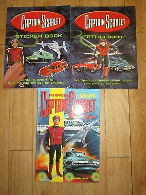 Official Captain Scarlet Annual 1993 & STICKER & TATOO BOOKS Gerry Anderson VGC,