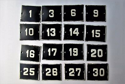 OLD ENAMEL PORCELAIN TIN SIGN PLATE NUMBERS Cobalt Blue  1,3,6,9,10 and other