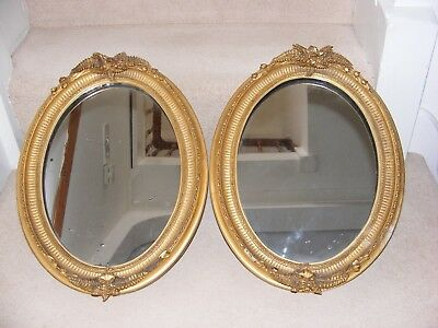 ANTIQUE PAIR 19th C.GILT FRAME WALL MIRRORS FRENCH OVAL GILDED GOLD VICTORIAN